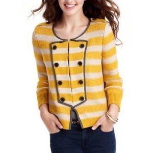 Loft Mustard Yellow Stripe Military Knit Cardigan